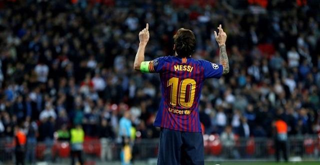 Festejo de Messi. Gol vs Tottenham