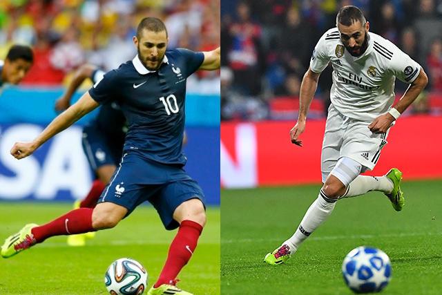 Karim Benzema con los mismos zapatos en 2014 y 2018