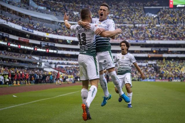 Rodríguez celebra un gol contra el América