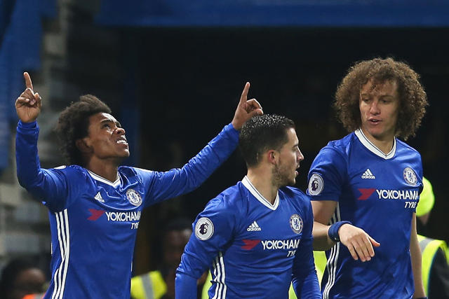 Willian, Hazard y David Luiz