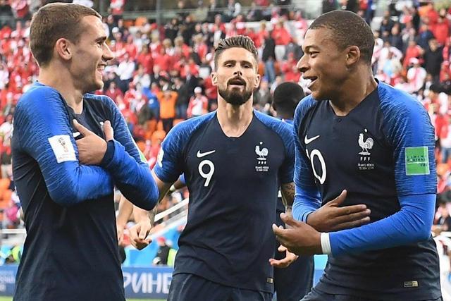 Griezmann, Giroud y Mbappé