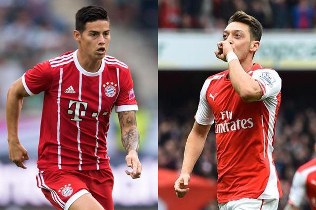 James Rodríguez y Mesut Özil