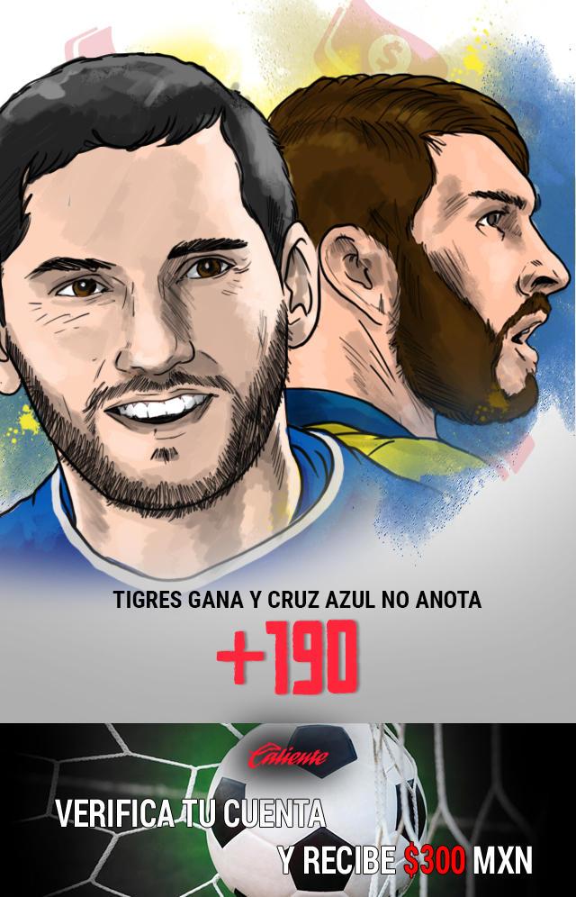 Si crees que Tigres gana y Cruz Azul no anota, apuesta en Caliente y llévate mucho dinero.