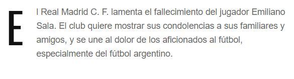 Real Madrid se suma a las condolencias