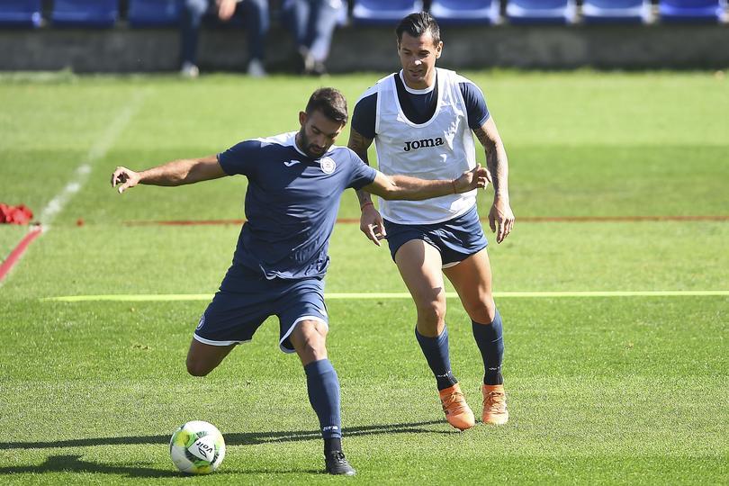 Cauteruccio y Caraglio en entrenamiento con Cruz Azul