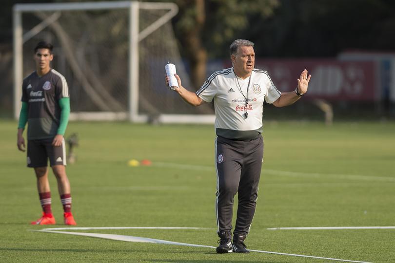 Gerardo Martino en su primer entrenamiento con México