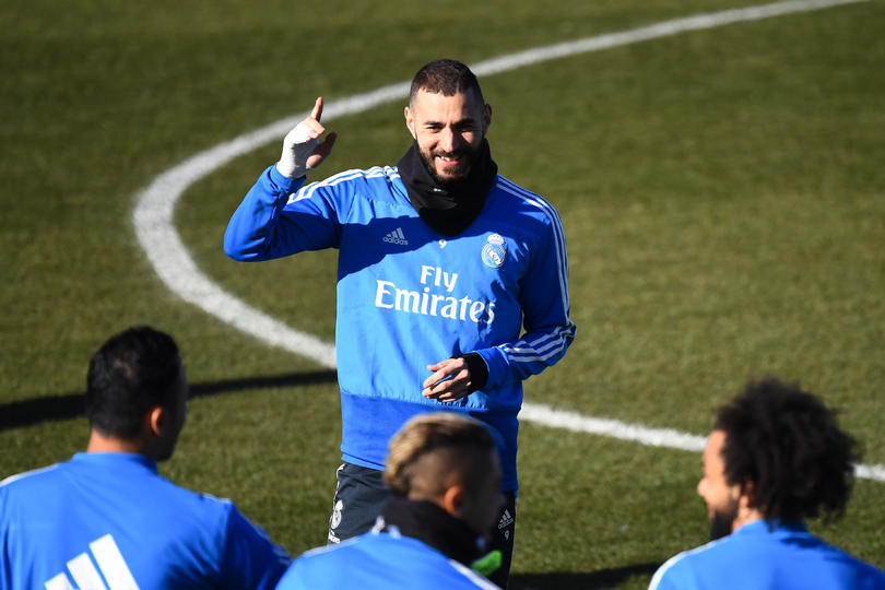 Karim Benzema en entrenamiento con el Real Madrid