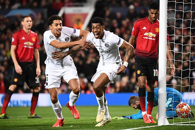 Kimpembe festeja su gol ante el Manchester United