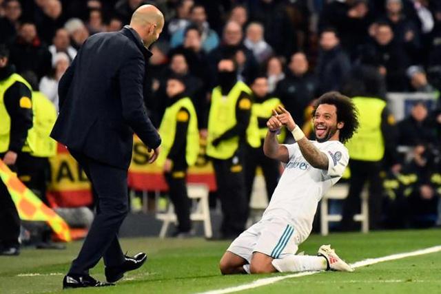 Zinedine Zidane y Marcelo en el Real Madrid