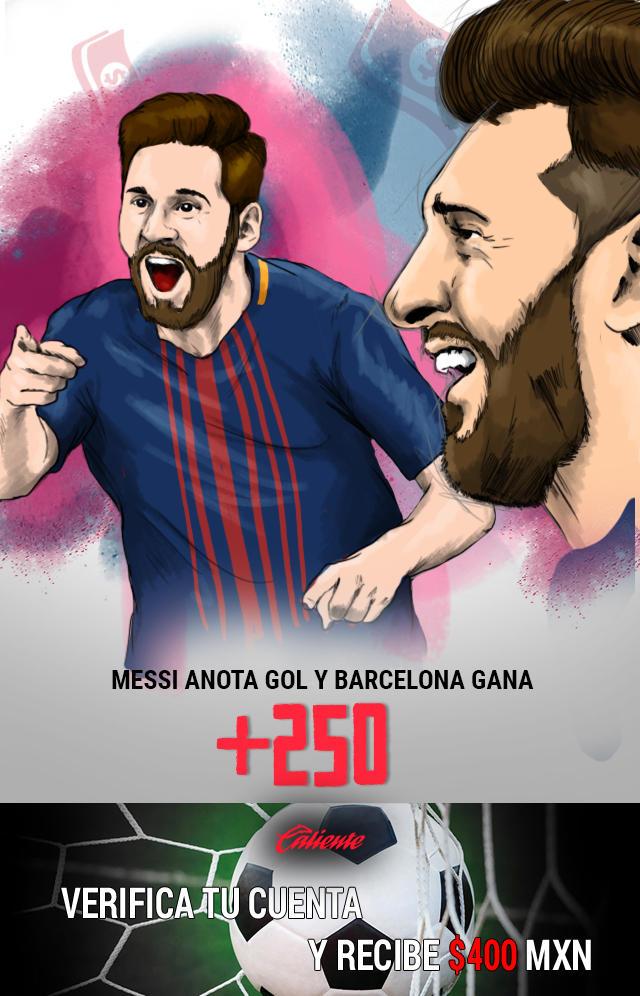 Si crees que Messi anota gol y Barcelona gana el Clásico español, apuesta en Caliente y llévate mucho dinero.