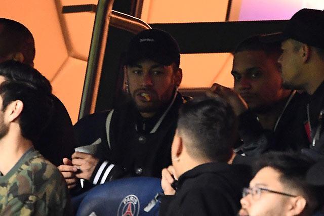 Neymar durante la vuelta de octavos contra el Manchester United
