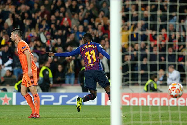 Dembélé jugó 20 minutos y anotó un gol en la victoria contra el Lyon