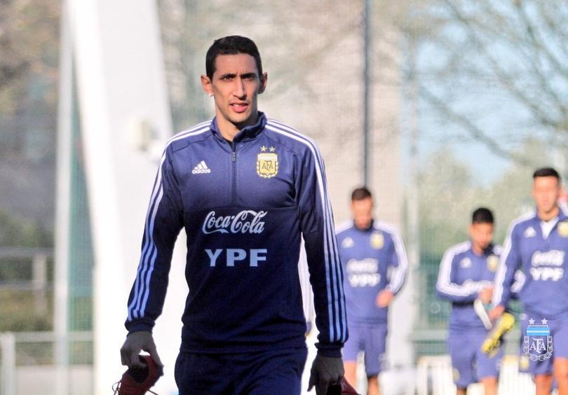 Ángel Di María en entrenamiento con Argentina