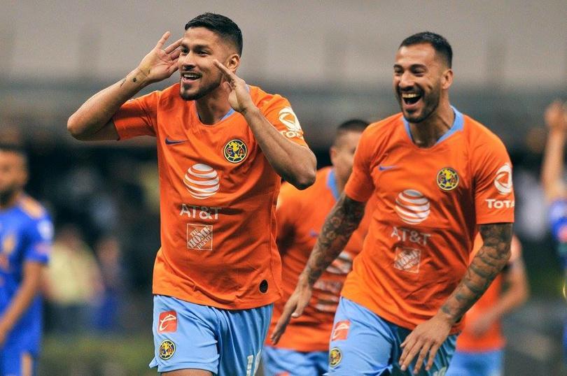 Bruno Valdez festeja su gol ante Tigres