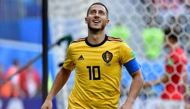 Eden Hazard en un partido con la Selección de Bélgica