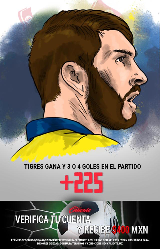 Si crees que Tigres gana y se anotan 3 o 4 goles en el partido, apuesta en Caliente y llévate mucho dinero.