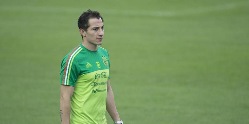 Andrés Guardado en un entrenamiento con la Selección Mexicana