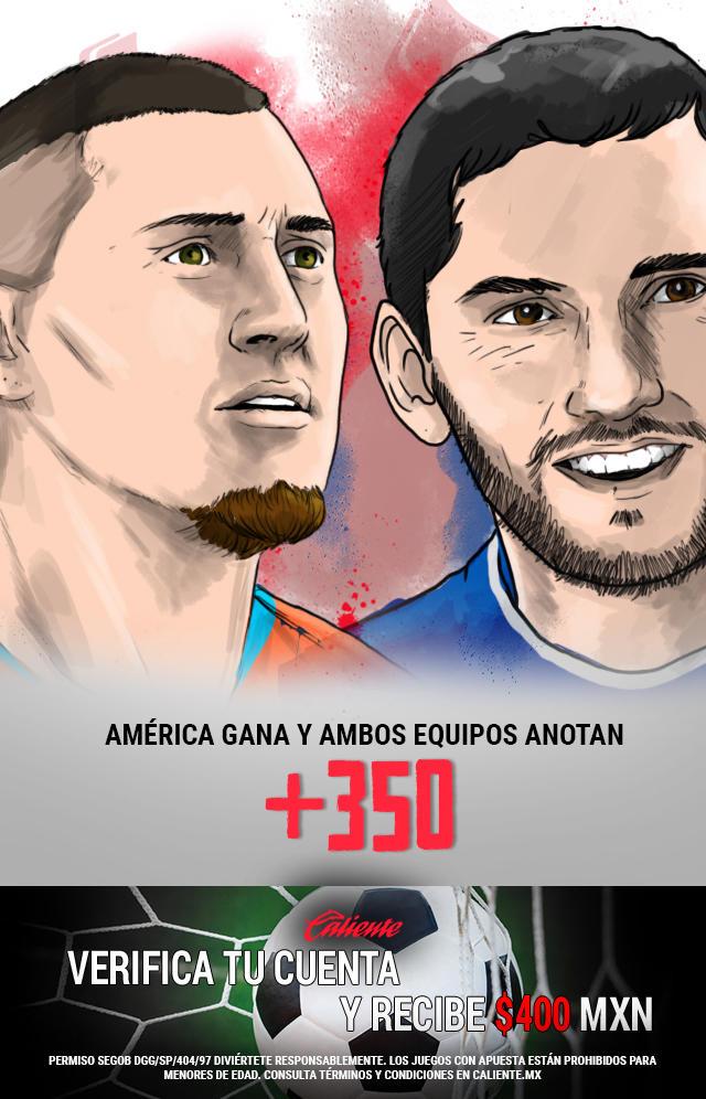 Si crees que América gana vs Cruz Azul y ambos equipos anotan, apuesta en Caliente y llévate mucho dinero.