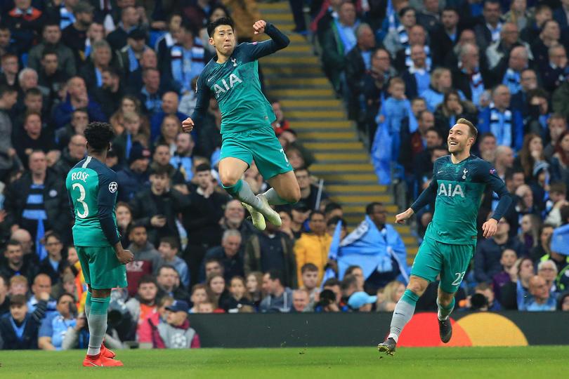 Heung Min Son festejando un gol al Manchester City