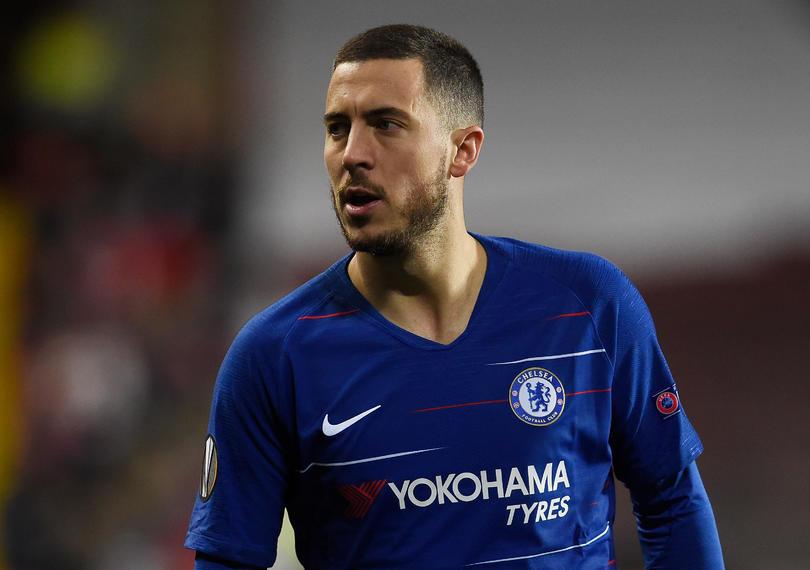 Eden Hazard en un juego con Chelsea de Europa League