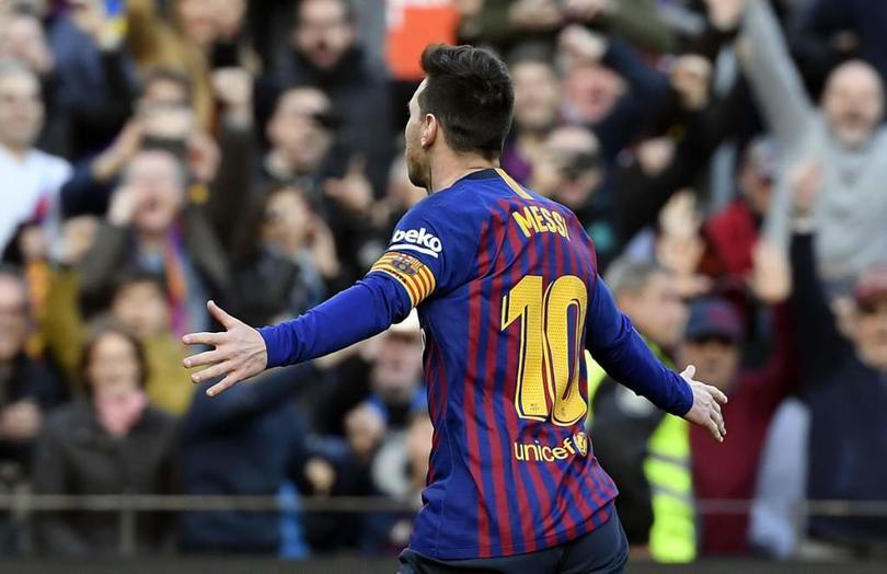 Lionel Messi en un partido con Barcelona