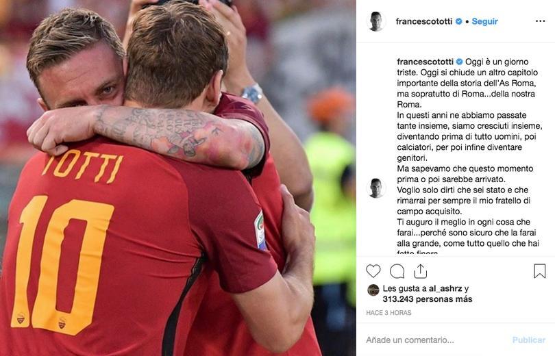 Mensaje de Totti a De Rossi en Instagram