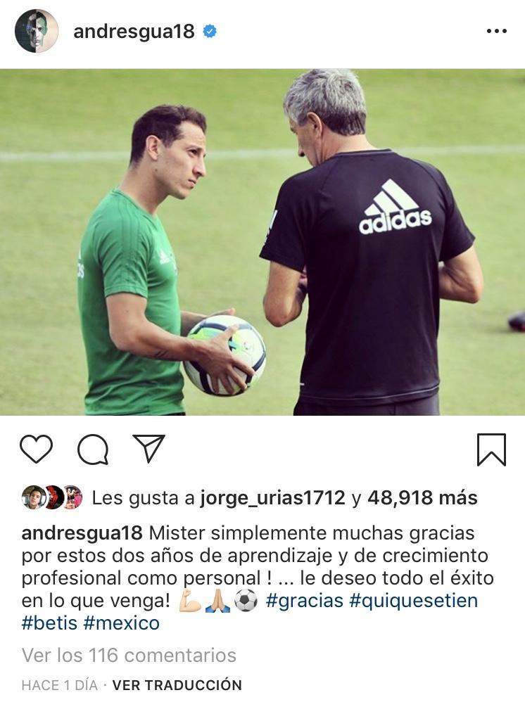 Andrés Guardado se despidió de Quique Setién