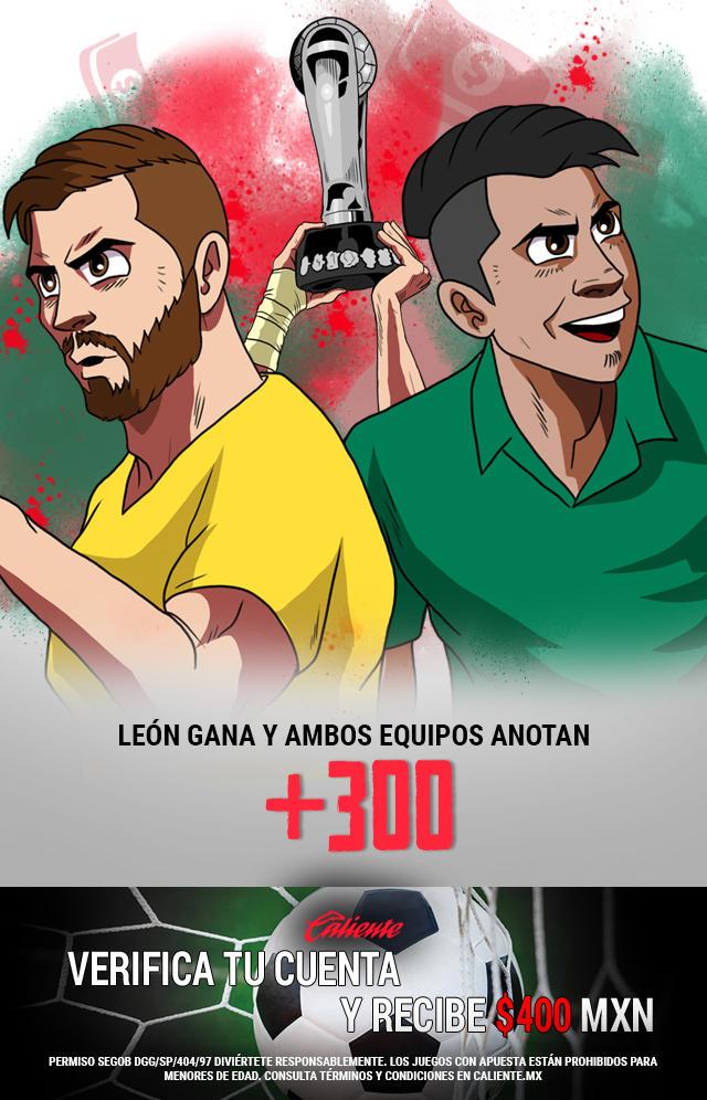 Si crees que León gana vs Tigres y ambos equipos anotan, en la final de vuelta de la Liga MX, apuesta en Caliente y no pierdas la oportunidad de llevarte mucho dinero.