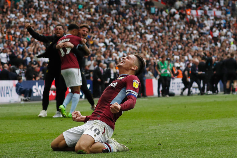 Jack Grealish tras conseguir al ascenso a la Premier League con Aston Villa