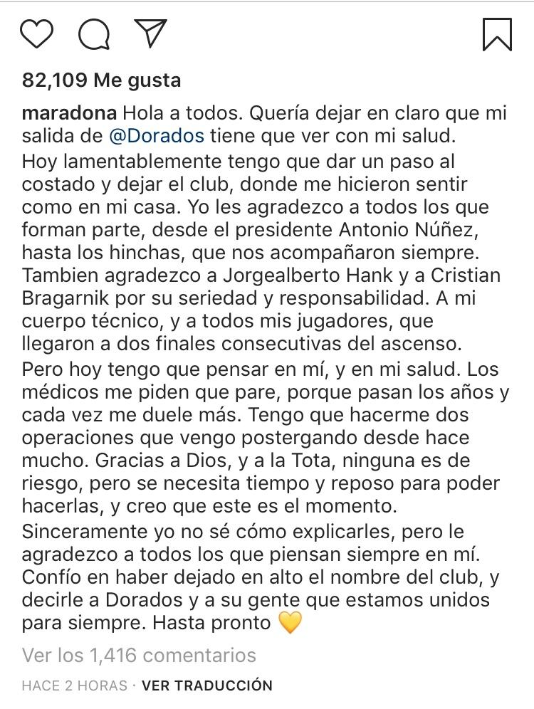 Maradona se despidió de Dorados con una carta