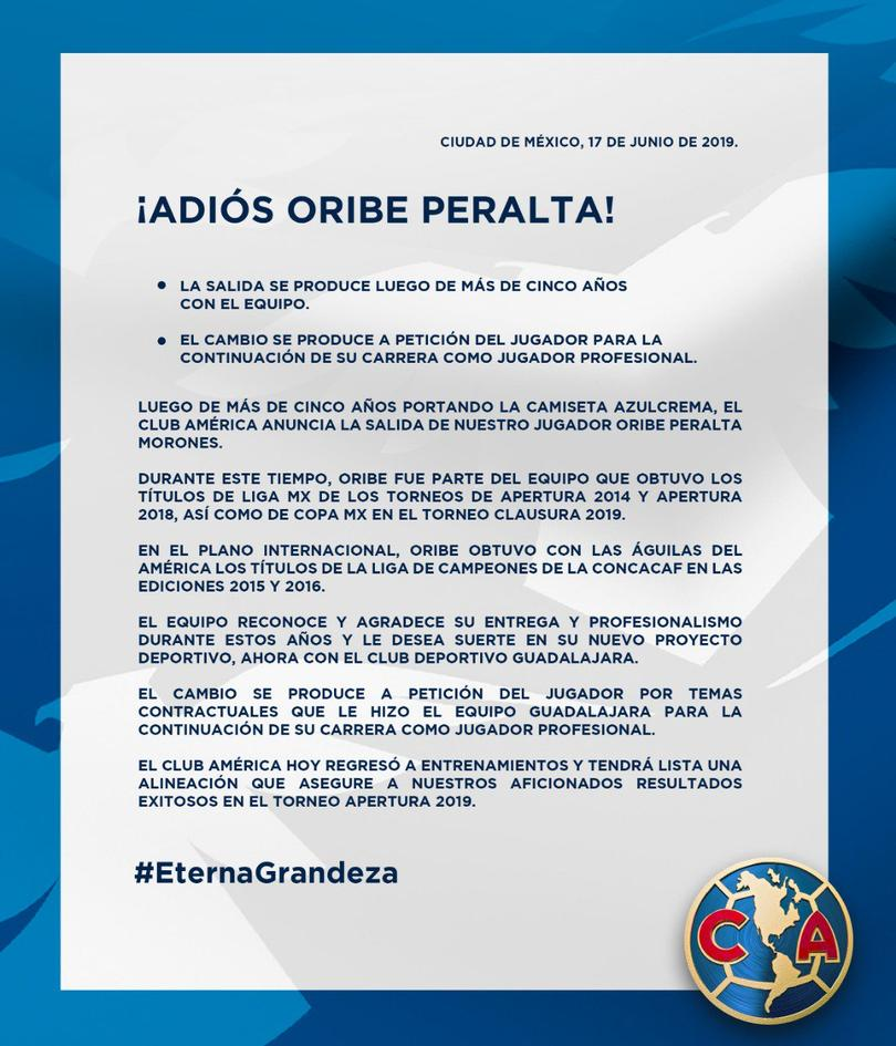 Comunicado Oribe Peralta