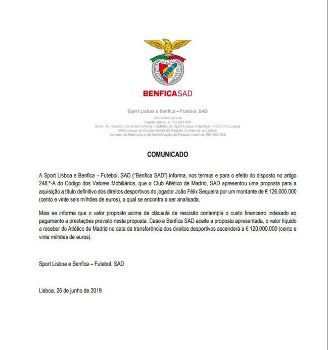 Comunicado del Benfica sobre la oferta del Atlético de Madrid por Joao Félix