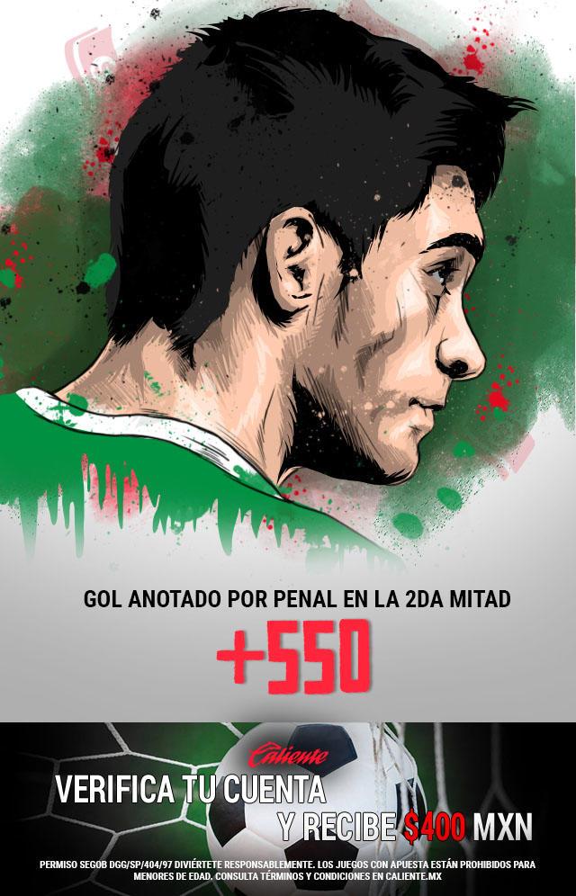 Si crees que en el partido de México vs Estados Unidos se anota un gol de penal en el segundo tiempo, apuesta en Caliente y no pierdas la oportunidad de llevarte mucho dinero.