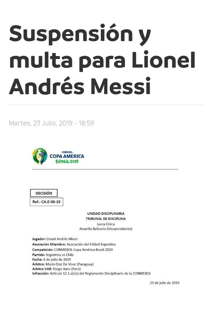 Sancion Messi