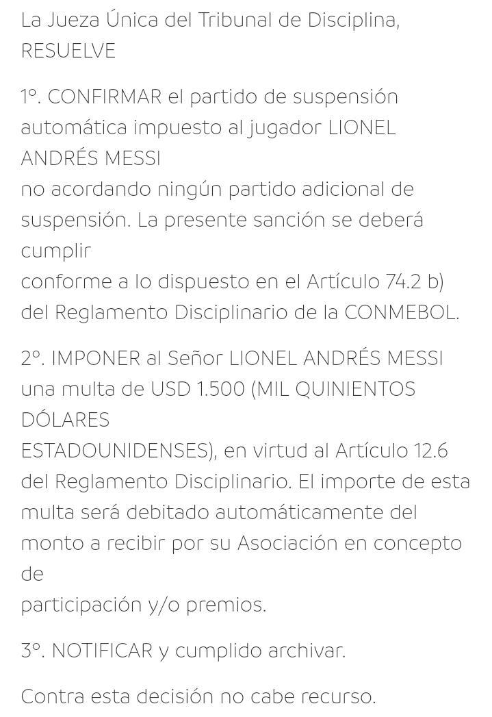 Sanción Messi
