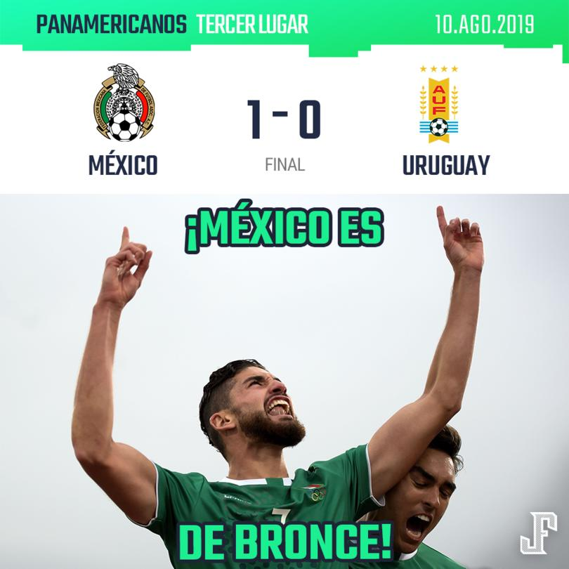 ¡BRONCE PARA MÉXICO! ???????  Los dirigidos por el Jimmy Lozano en los Panamericanos, consiguieron el tercer lugar después de vencer 1-0 a Uruguay con gol de Paolo Yrizar.