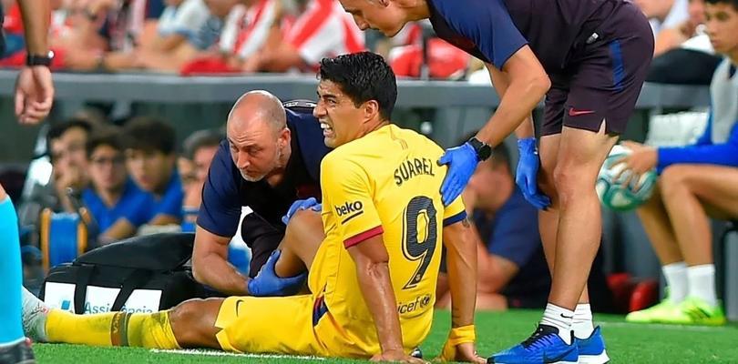 Suárez sufrió una lesión muscular en la pierna derecha