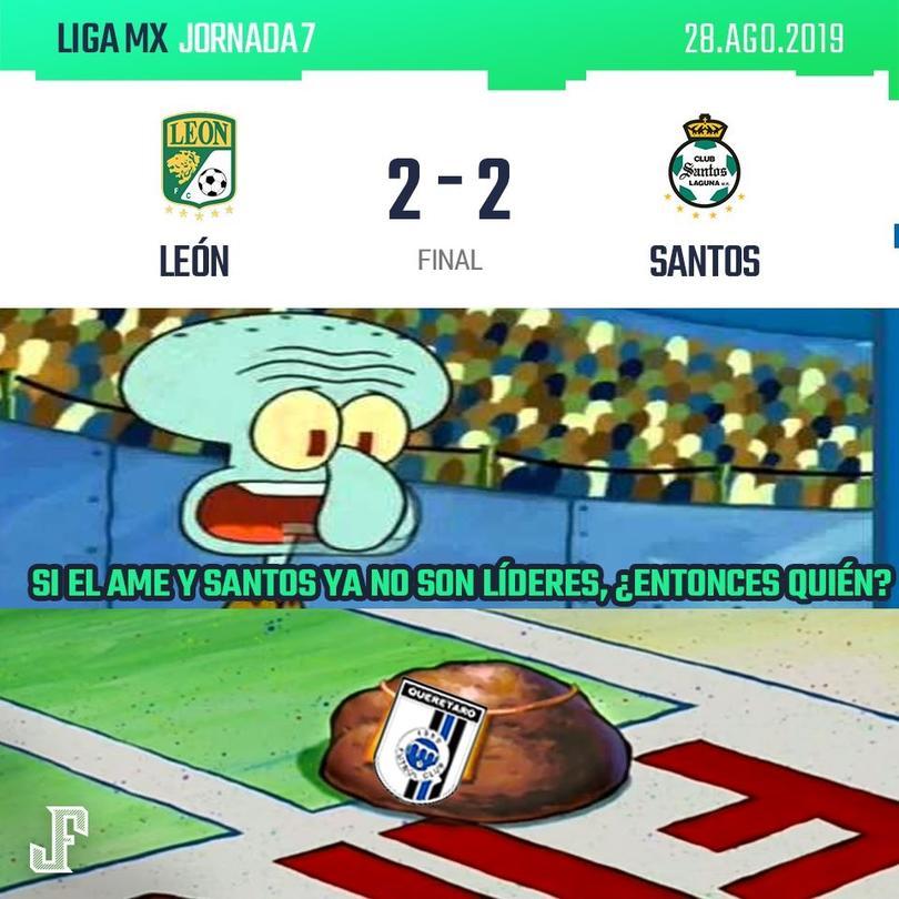 León le sacó un punto a Santos en su casa. Goles de Macías y Mena por parte del León; los de Santos los anotó Furch y Castillo.