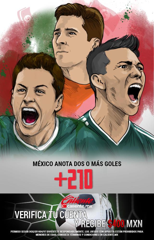Si crees que en el partido de Argentina vs México, la Selección Mexicana anota dos o más goles, apuesta en Caliente y llévate mucho dinero.