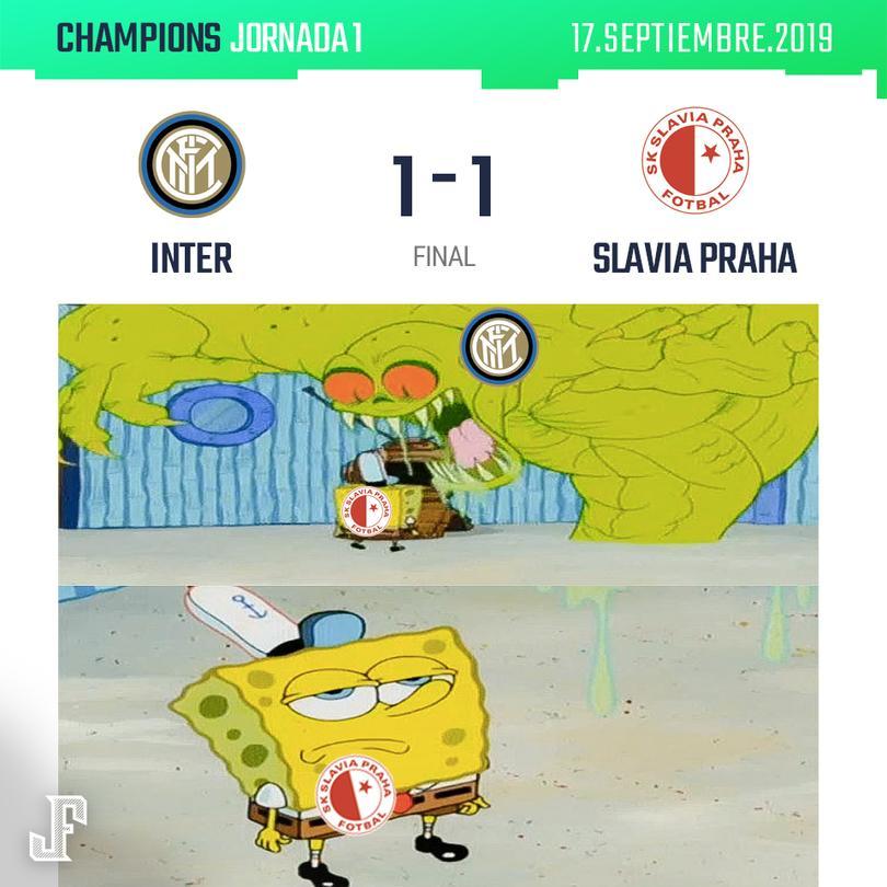 Con gol de último minuto, el Inter logró sacar el empate al Slavia Praha