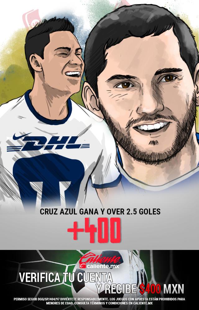 Si crees que Cruz Azul gana el partido vs Pumas y hay más de dos goles, apuesta en Caliente y llévate mucho dinero.