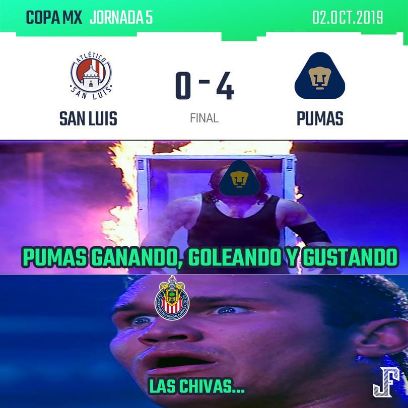 Pumas goleó 4-0 a San Luis