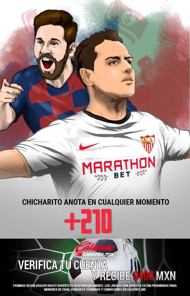 Si crees que el partido Barcelona vs Sevilla, Chicharito anota gol en cualquier momento, apuesta en Caliente y llévate mucho dinero.