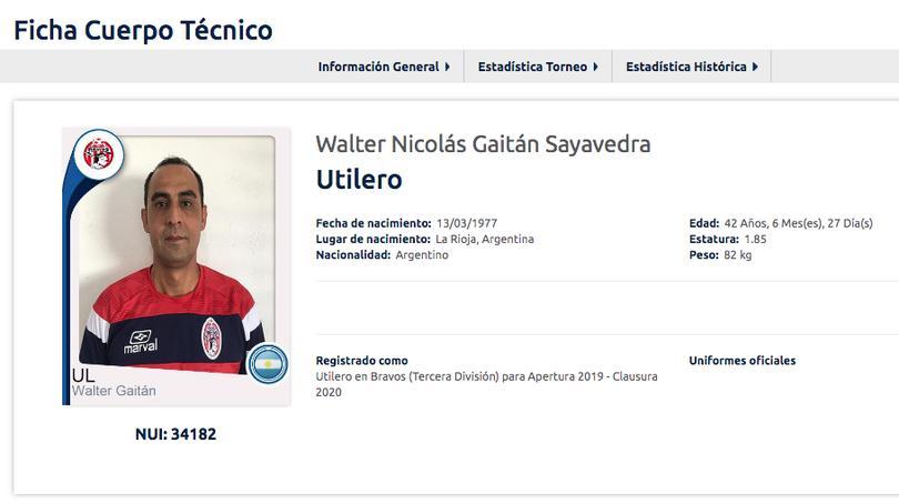 Registro de Walter Gaitán como utilero de Bravos