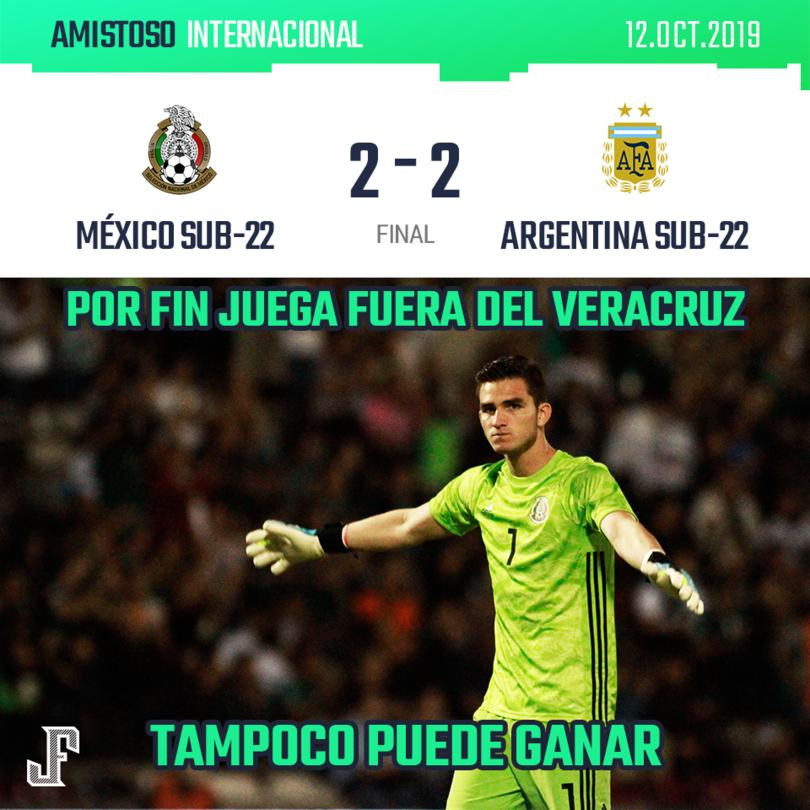 ¡NO SE PUDO!  México estuvo dos veces arriba con goles de Loroña y Lalo Aguirre, pero Argentina lo alcanzó las dos veces.
