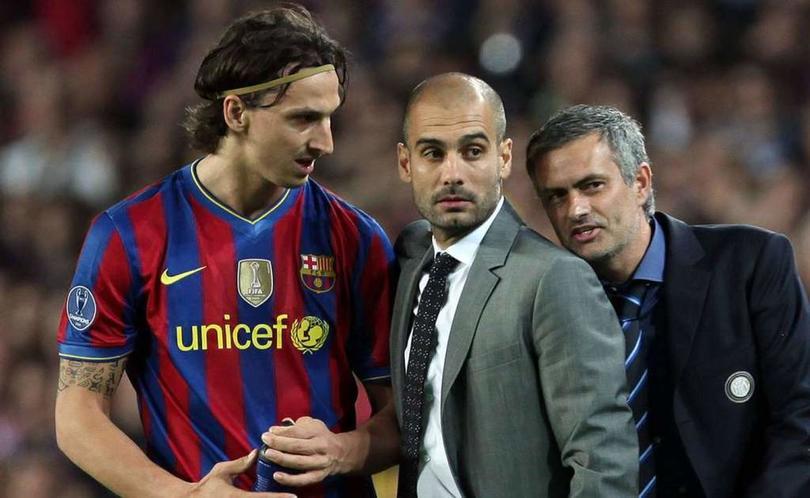 Zlatan Ibrahimovic, Pep Guardiola y José Mourinho en un partido de Champions League