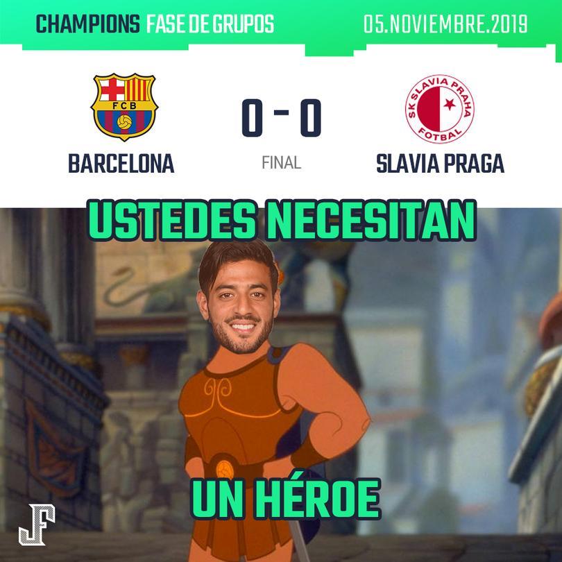Barcelona empató a ceros con el Slavia Praga