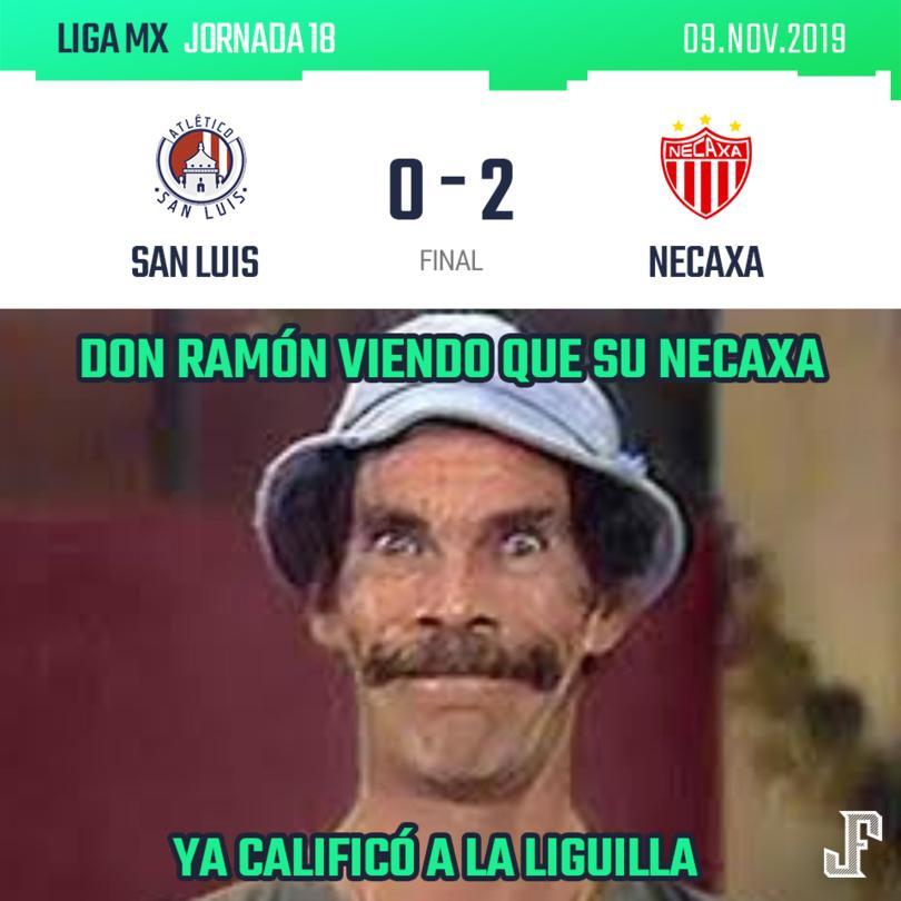 El Necaxa venció a San Luis con goles de Quiroga y el Chicote Calderón y se subió al segundo lugar de la Tabla.