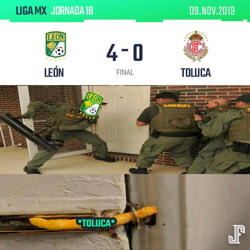 Con goles de Meneses, Yairo Moreno, Iván Ochoa y JJ Macías, el León goleó a Toluca y se mete a la liguilla.