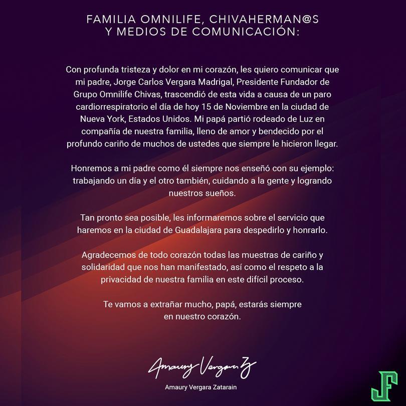 Así se expresó Amaury sobre la muerte de su padre.